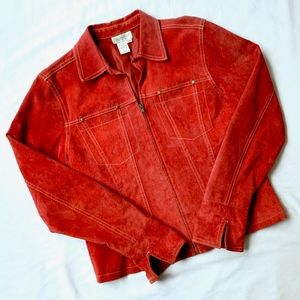 COLDWATER CREEK • RED SUEDE ZIPPER UTILITY JACKET